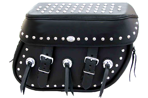 Boss Bags Close Fitting #40 Model  Studded on Lid Valence, Body and Top w/ Conchos on Body for Softail Models