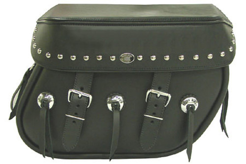 Boss Bags Close Fitting #40 Model Studded on Lid Only w/ Conchos on Bag Body for Softail Models