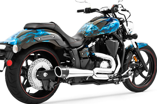 Freedom Performance Combat Outlaws 2-Into-1 Exhaust for Stryker '11-up  -Chrome w/ Chrome Tip (Shown with Black Tip)