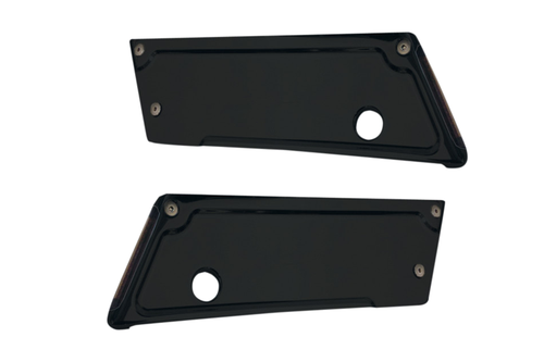 Alloy Art Saddlebag Latch Covers for '93-13 FL Models w/ Hard Bags -Black Anodized w/ Smoke Lens and Red LEDs