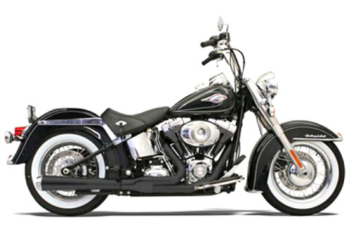 Bassani Road Rage 2-Into-1 Exhaust  for Softail '86-11 Black