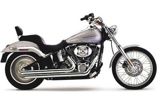 Cobra Speedster Slashdowns  Exhaust w/ PowerPort for Softails '07-11 Black (Shown in Chrome)