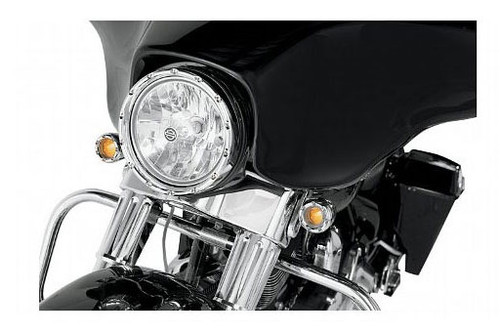 "Arlen Ness Fire Ring L.E.D.  With White L.E.D. Running Lights  for 7"" Factory Headlights - Chrome Ring"