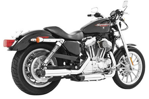 Freedom Performance Exhaust 3-1/4 inch Racing Slip Ons for '04-13 XL Models -Chrome w/ Black Tip