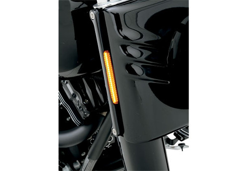 Alloy Art LED Front Signal Lights for Harley Davidson Fat Boy, Heritage, Deluxe, & Slim '90-17 - Smoked lens w/ Amber LEDs (Black Anodized)