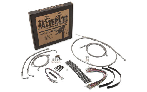 Burly Brand Handlebar Installation Kit for '14-16 FLHX/FLHT/C/U & H-D Trikes with ABS -15 Inch Braided Stainless Steel