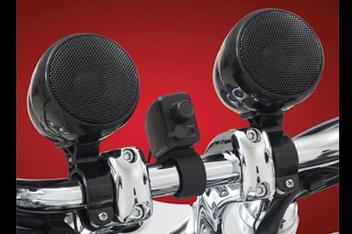 Big Bike Parts Waterproof Motorcycle Sound System -Black Set