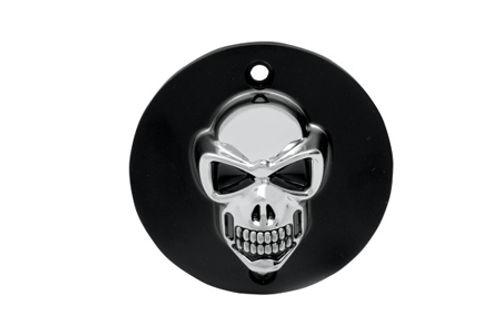 Drag Specialties 3-D Skull Points Cover for '99-Up Big Twin Matte Black w/ Chrome Skull