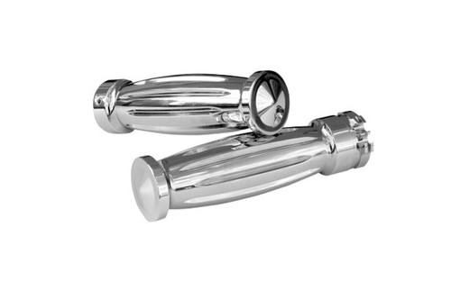 Accutronix  Custom Grips for '08-16 FLHT,FLHR,FLHX & H-D Trikes -Diamond, Chrome