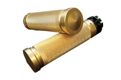 Accutronix  Custom Grips for '84-Up  Models (except '08-13 FLHT,FLHR,FLHX & H-D Trikes) -Knurled, Brass