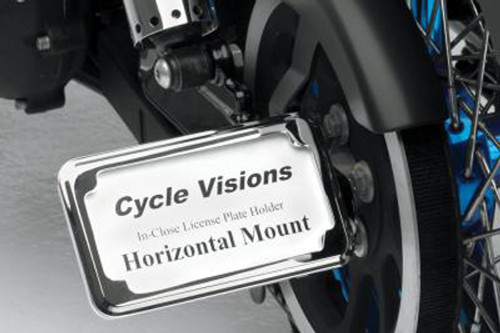 Cycle Visions In Close License Plate Holder for '86-07 FXST/FLST -Chrome, Horizontal with Plate Light
