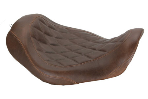 Mustang  Wide Tripper Solo Seat for '06-17 Dyna/Wide Glide Models -Diamond Stitch Pattern-Brown Distressed