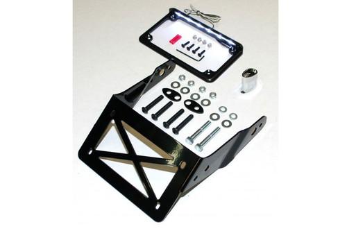 Easy Brackets Turn Signal/License Plate Relocation Kit w/ Lighted License Plate Frame for '13-17 H-D Street Bob & '16-17 FXDLS - Black Plate