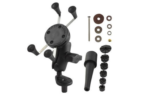 Ram Mounts X Grip Kit for IPhone/IPod Touch/IPod G1-G5/Samsung Galaxy Fork Stem Mount w/ Short Double-Socket Arm Click for fitment