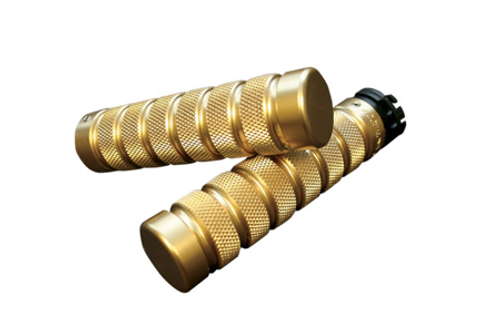 Accutronix  Custom Grips for '84-Up Models (except '08-13 FLHT,FLHR,FLHX & H-D Trikes) -Knurled/Notch, Brass