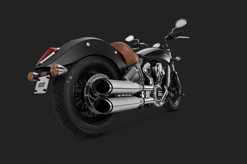 Vance & Hines 4 inch Twin Slash Round Slip-On Mufflers for '15-Up Indian Scout -  Chrome