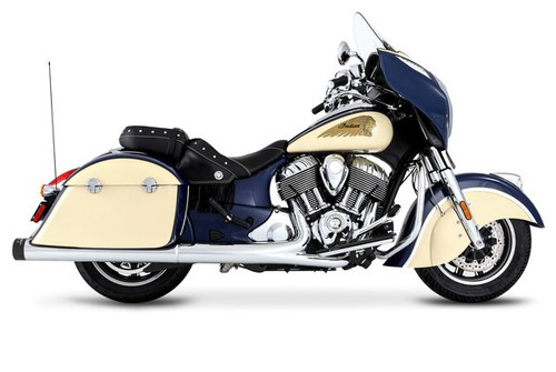 Rinehart Racing 4-Inch Slip On Mufflers for '14-Up Indian Challenger, Chieftain, Roadmaster & Springfield - Chrome w/ Black Tips