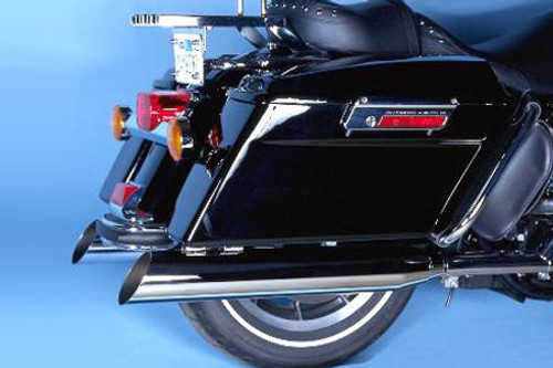Bassani Power Curve 3 inch Slip-On Mufflers - Slant-Cut (Use w/ Bassani True Dual Crossover Head Pipes and Hutch Special True Dual Head Pipes) for '95-17 Harley Davidson Softail