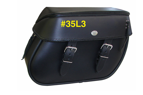 Boss Bags #35 for Dyna '94-up Braided Lid Valence with Laced Leather on Lid Corner
