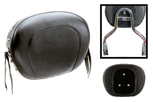 Mustang  Sissy Bar Pad  for OEM Yamaha ROUND Bar  (Bar NOT Included)-Large -Studded with Conchos