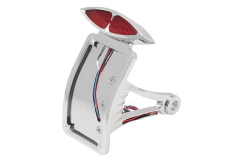 """Drag Specialties Side Mount DECO Taillight w/ License Plate Mount for '86-99 FXST/FLST w/ ¾"""" Axle Curved Vertical"""