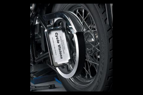 Cycle Visions In Close License Plate Holder for '08-11 FXST/FLST -Chrome, Vertical with Plate Light