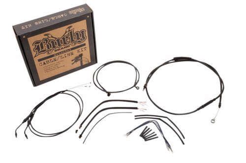 """Burly Brand Handlebar Installation Kit for '14-Up Harley Davidson XL -16"""" Ape Hanger Black Vinyl"""