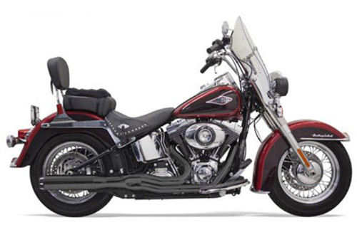 Bassani Exhaust B-1 Style System for '86-17 Softails -Black w/ Black Fluted End Caps