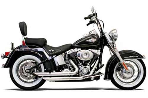 Bassani Exhaust  Fireflight Exhaust w/ Slash Cut Ends for '86-11 Softail Chrome