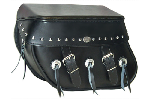 Boss Bags #36 Model Studded on Lid Only w/ Conchos on Bag Body for Harley Models