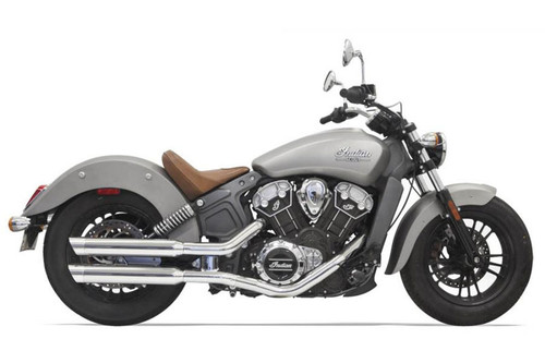 Bassani  3 inch Chrome Slip On Muffler with Chrome Slash Cut End Cap for '15-Up Indian Scout