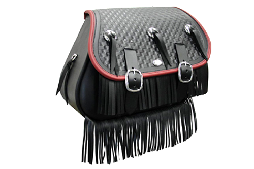 Boss Bags Close Fitting  #37 Model Braided Lid, Fringed w/ Conchos (Red Trim Shown) for Softail Models 1