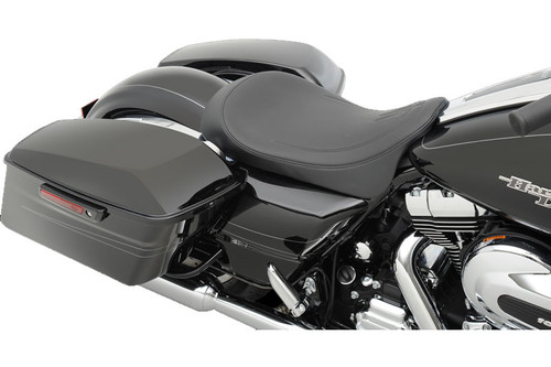 Drag Specialties Seats Low-Profile Solo Seat for Harley Davidson Touring Models 2008-Up -Black Pinstripe