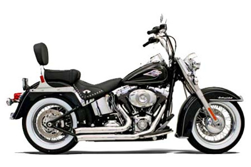 Bassani Exhaust  Firesweep Exhaust w/ Turnout Ends for '86-11 Softail Chrome