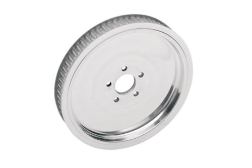 """Drag Specialties Polished 1½"""" Rear Belt Pulley for '86-99 Big Twin -Solid, 65-tooth"""