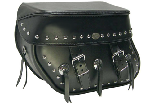 Boss Bags #36 Model Studded on Lid & Bag Body  w/ Three Conchos on Bag Body for Harley Models