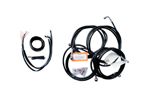 L.A. Choppers Complete Handlebar Cable/Brake Line Kit For '16-Up FLHT, FLHX with ABS For use with 15-inch to 17-inch Ape Hangers  Black Vinyl/Stainless Steel Braided (Does Not Include Electronic Throttle Control Extension)