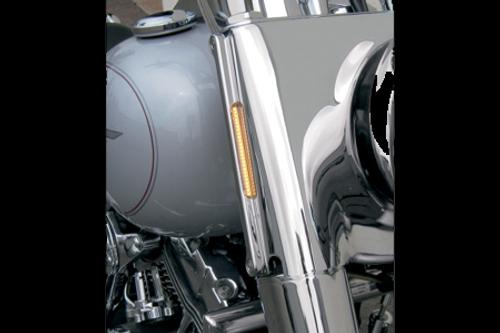 Alloy Art LED Front Signal Lights for Harley Davidson FLHR '94-14 -w/ Clear lens/Amber LEDs, Chrome