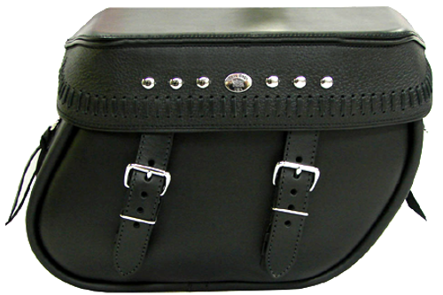 Boss Bags #38 Model  Italian Style w/ a Braided Lid Valence for Harley Models