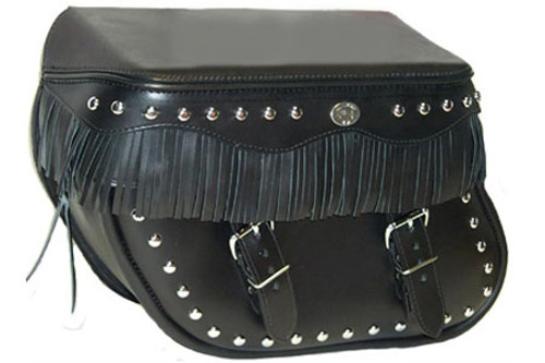 Boss Bags Close Fitting #40 Model Studded Body and Lid w/ Fringed Lid Valence for Softail Models