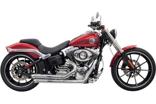 Bassani Pro Street Exhaust System for Harley Davidson Rocker & '13-17 Breakout Turn Out Style Chrome