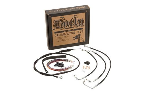 Burly Brand Handlebar Installation Kit for '14-16 FLHX/FLHT/C/U & H-D Trikes Non ABS -13 Inch - Black