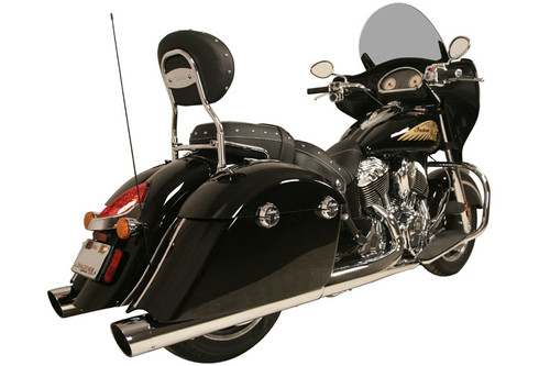 Rush Mufflers WAR HORSE 4-inch Mufflers for '14-Up Indian Challenger, Chieftain, Roadmaster & Springfield - Muffler and Tip Package - Chrome