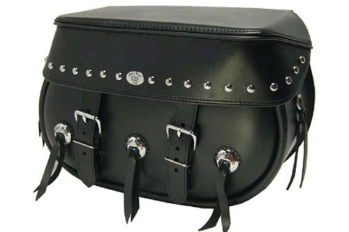 Boss Bags #34 Model  Studded on Lid Only with Conchos on Bag Body for Harley Models