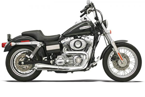 Bassani Road Rage 2-Into-1 System for FXD/FXDWG  '91-17 w/ Mid or Forward Controls - Chrome, Short Meg w/ Heat Shields