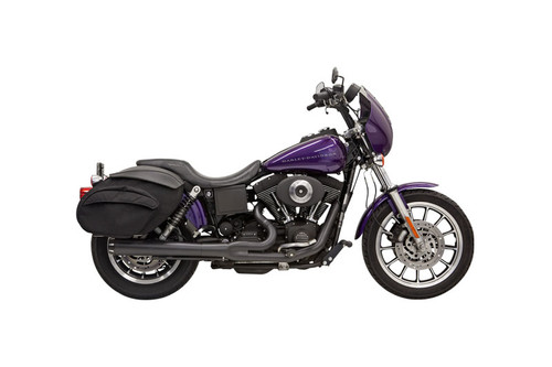 Bassani Road Rage 2-into-1 System for '91-05 FXD/FXDWG w/ Forward or Mid Controls Chrome, Long Style Shown in Black