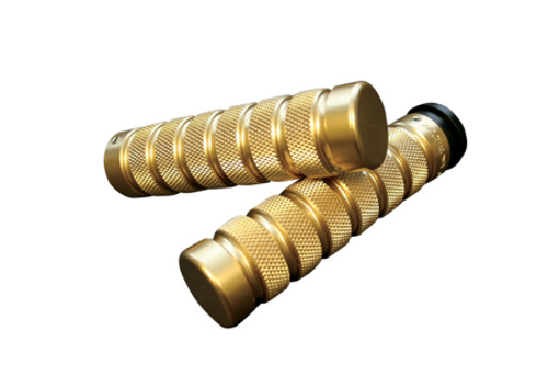 Accutronix  Custom Grips for '08-Up  FLHT,FLHR,FLHX & H-D Trikes -Knurled/Notch, Brass