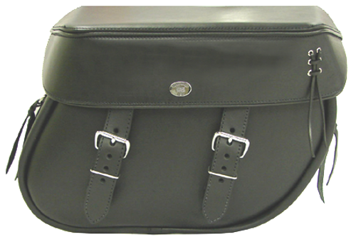 Boss Bags Close Fitting #40 Model Plain Style with Laced Leather on Lid Corner for Softail Models