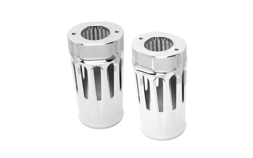 Arlen Ness Fork Boot Covers for '86-13 FLHT & '06-13 FLHX & Trike -Deep Cut, Chrome +2""