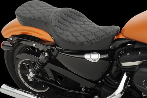 Drag Specialties Low Profile Double Bucket Seat for '10-Up XL (ALL) -Double Diamond Stitch
